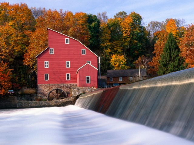 red_mill_in_autumn__clinton__new_jersey