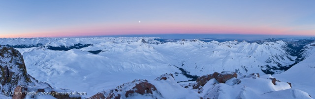 200-degree panorama looking west at sunrise from the summit of 14,309-foot Uncompahgre Peak, March 2, 2010, Uncompahgre Wilderness, Colorado