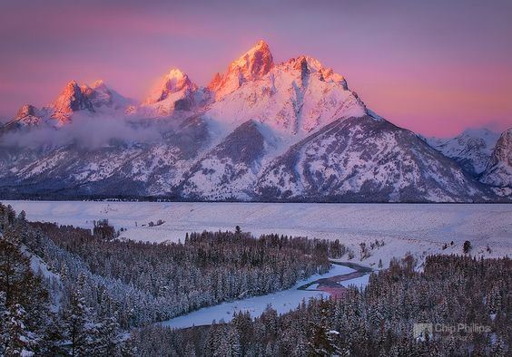 This image was shot from snowshoes at the Snake River Overlook in Grand Teton National Park, just after record snowfall of 30 inches over the Chrismas holiday.